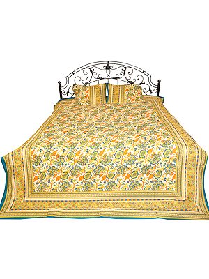 Sanganeri Bedspread with Floral Print