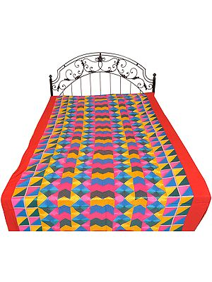 Multicolor Phulkari Embroidered Single Bedcover from Punjab with Geometrical Designs