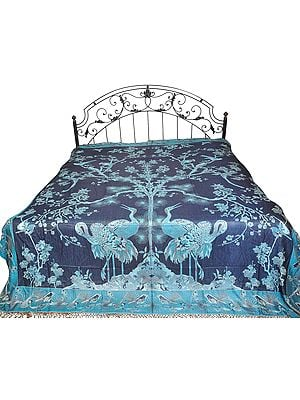 Insignia-Blue Reversible Super-Silk Jamawar Bedspread with Woven Tree of Life