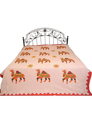 Violet-Ice Stonewashed Bedspread from Jaipur with Applique Camels