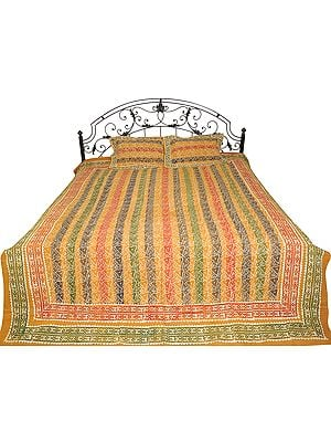 Honey-Yellow Bedspread from Sanganer with Block-Printed Flowers and Stripes