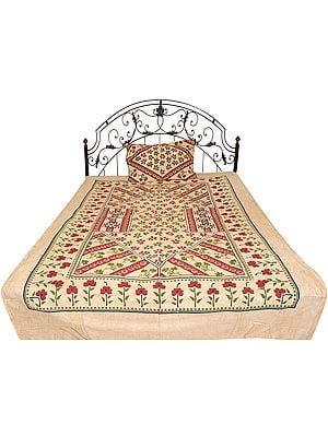 Frosted-Almond Single-Bed Bedspread from Pilkhuwa with Printed Flowers