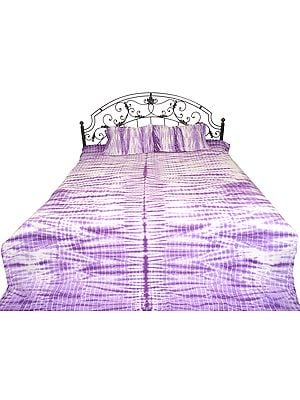 Purple and White Batik-Dyed Bedspread from Rajasthan