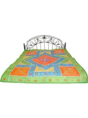 Green and Blue Embroidered Bedspread from Kutch with Patchwork and Mirrors