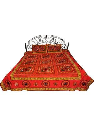 Bedspread from Gujarat with Embroidered Flowers and Mirrors