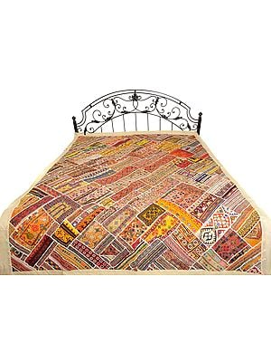 Alabaster-Gleam Rabari Embroidered Bedcover from Sindh with Patchwork and Mirrors