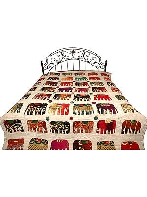 Bedcover from Jodhpur with Applique Elephants and Kantha Stitch Embroidery