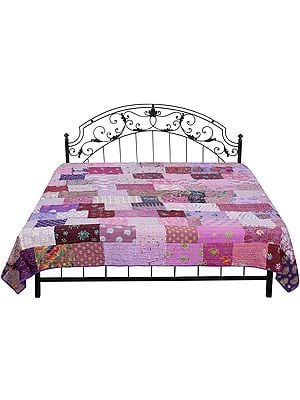 Orchid-Bloom Kantha Embroidered Bedspread Embellished with Crystals and Floral Patch Work
