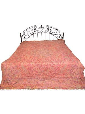 Garnet-Rose Reversible Jamawar Bedspread from Amritsar with Woven Mughal Design