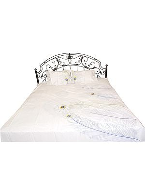 Snow-White Plain Bedspread with Embroidered Peacock Feathers