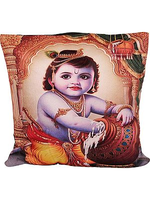 Cushion Cover from Gujarat with Digital-Printed Butter Krishna
