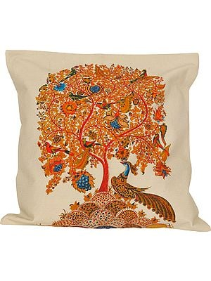Cloud-Cream Cushion Cover from Jaipur with Printed Tree of Life