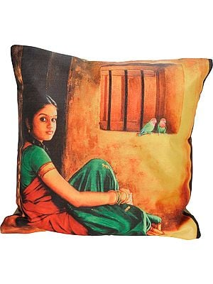 Cushion Cover with Digital-Printed Portrait of a Young Lady