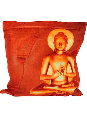 Orange-Rust Digital Printed Lord Buddha Cushion Cover from Gujarat