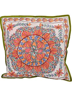 Bright-White Madhubani Hand-Painted Cushion Cover from Bihar