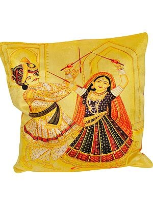 Yellow-Cream Dandia Digital Printed Cushion Cover from Gujarat