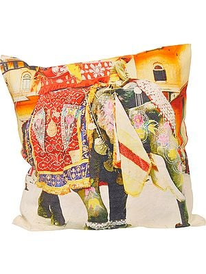 Multicolor Cushion Cover from Jaipur with Digital-Printed Royal Elephant
