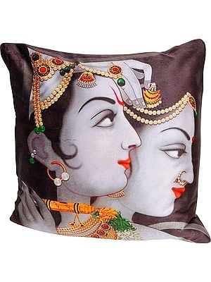 Radha Krishna Digital-Printed Cushion Cover from Gujarat