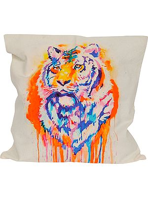 Pristine-White Cushion Cover from Jaipur with Digital-Printed Tiger