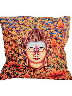 Multicolor Cushion Cover from Gujarat with Digital-Printed Lord Buddha