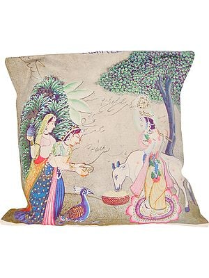 Krishna with Gopis Digital-Printed on a Cushion Cover