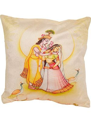 Ivory Radha Krishna Digital-Printed Cushion Cover from Gujarat