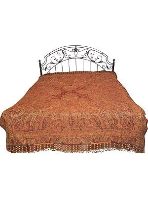 Apple-Butter Reversible Jamawar Bedspread from Amritsar with Woven Paisleys