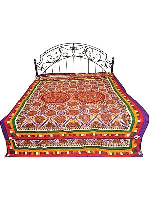 Multicolor Bedcover from Jodhpur with Printed Chakras and Kantha Stitch