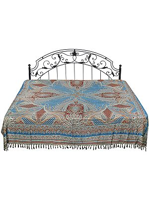 Bluejay Reversible Jamawar Bedspread from Amritsar with Woven Paisleys
