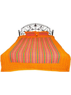 Marigold Sanganeri Bedspread from Gujarat with Geometric Print and Kantha Stitch