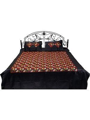 Jet-Black Phulkari Embroidered Bedspread from Punjab with Geometrical Motifs