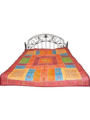 Multicolor Bedspread from Kutch with Embroidered Mirrors and Patchwork