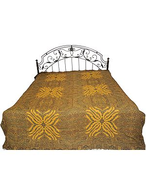 Green and Mustard Reversible Jamawar Bedspread from Amritsar with All-Over Weave