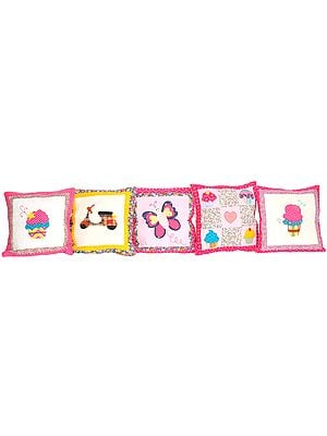 Lot of Five Printed Cushion Covers with Applique-work