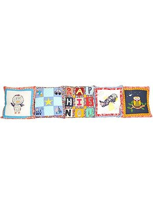 Lot of Five Printed Nursery Cushion Covers with Applique-work