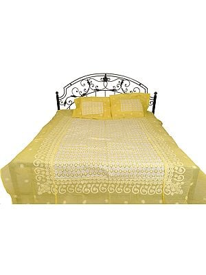 Yellow-Cream Bedspread from Lucknow with Chikan Hand-Embroidery and Applique-work