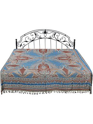Horizon-Blue Reversible Jamawar Bedspread from Amritsar with Woven Paisleys
