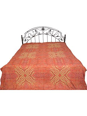 Tomato-Puree Reversible Jamawar Bedspread from Amritsar with Woven Paisleys
