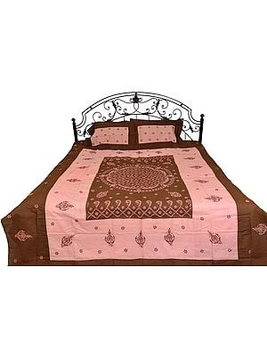 Brown and Pink Lukhnavi chikan Bedspread With Floral Hand-Embroidery