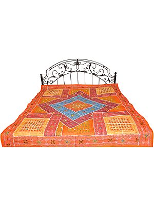 Orange Bedspread from Kutch with Embroidered Mirrors and Patchwork