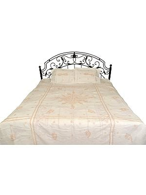 White Bedspread from Lucknow with Chikan Embroidery by Hand
