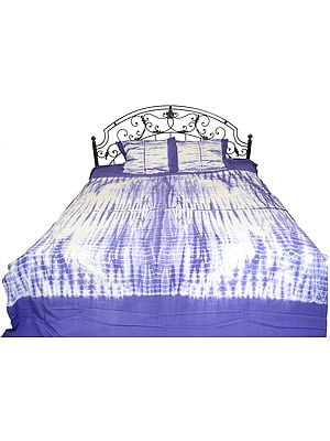 White and Blue Batik-Dyed Bedsheet from Rajasthan