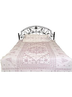Snow-White Bedspread from Lucknow with Chikan Embroidery by Hand