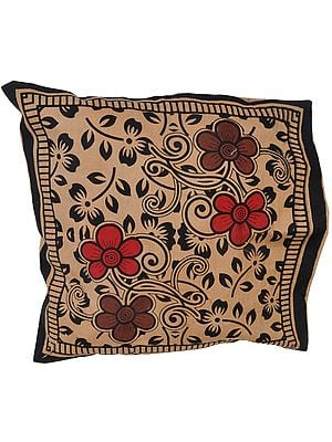 Amphora and Black Cushion Cover from Pilkhuwa with Printed Flowers