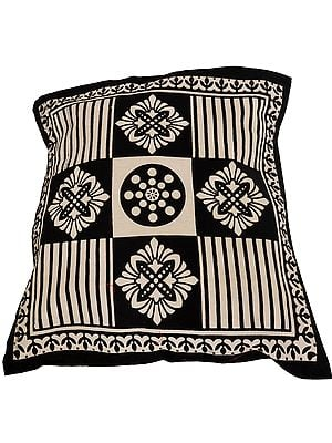 Ivory and Black Cushion Cover from Pilkhuwa with Printed Flowers and Stripes