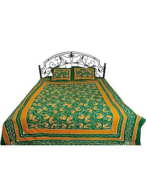 Green and Nugget Batik-Dyed Bedsheet with Floral Print