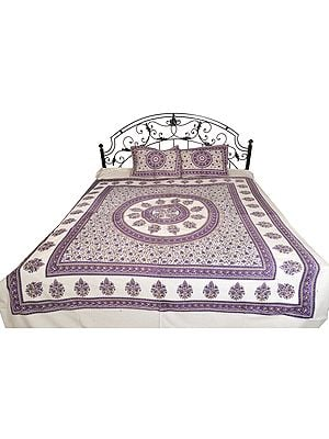 Bright-White Bedsheet from Pilkhuwa with Floral Print and Chakra