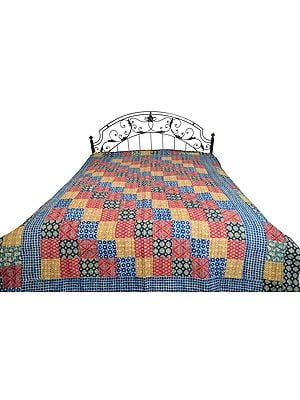 Multicolored Floral Printed Bedcover from Jodhpur with Patch-work All-Over and Kantha Straight Stitch