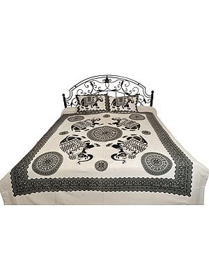 White and Black Bedsheet with Printed Elephants and Chakras