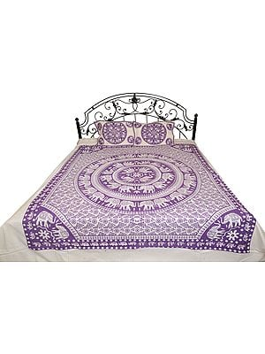 Bedsheet from Pilkhuwa with Printed Chakravhuh of Elephants